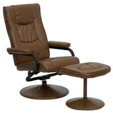 Contemporary Soft Leather Recliner and Ottoman