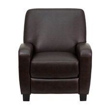 Brown Leather Push Back Club Recliner