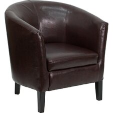 Leather Barrel Shaped Reception Lounge Chair