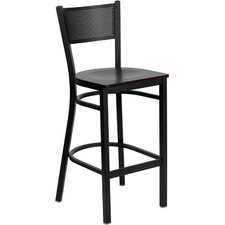 Hercules Series Grid Back Metal Restaurant Bar Stool