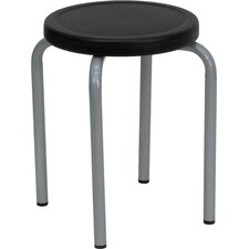 Stackable Stool with  Seat and Silver Powder Coated Frame