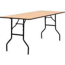 <strong>Flash Furniture</strong> Rectangular Wood Folding Banquet Table with Clear Coated Finished Top