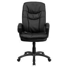 High-Back Leather Massaging Executive Office Chair with Arms
