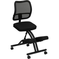 <strong>Flash Furniture</strong> Mobile Ergonomic Kneeling Chair with Black Curved Mesh Back and Fabric Seat