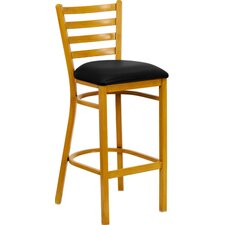 Hercules Series Ladder Back Metal Restaurant Bar Stool with Vinyl Seat