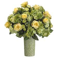 """22"""" Rose, Hydrangea and Ranunculus Floral Arrangement with Ceramic Vase"""