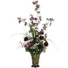 "33"" Dendrobium Orchid and Ranunculous Silk Floral Arrangement with Vase"