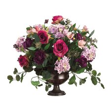 "18"" Rose, Hydrangea and Aster Floral Arrangement with Urn"