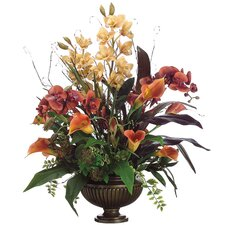 "31"" Cymbidium, Phalaenopsis, Calla Lily and Berry Floral Arrangement with Urn"