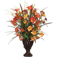 "<strong>Tori Home</strong> 35"" Lily, Tulip, Firecracker and Berry Floral Arrangement with Resin Urn"