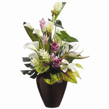 Faux Tropical Flowers Arrangement in Vase