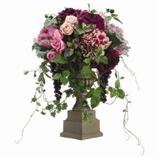 "25"" Rose, Hydrangea, Cabbage and Grapes with Urn"