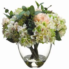 Rose, Hydrangea Bouquet in Glass Vase