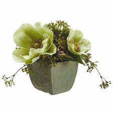 Anemone/Viburnum Berry in Ceramic Vase