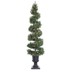 6' Green Pine Spiral Artificial Christmas Tree with 150 Clear Lights with Urn