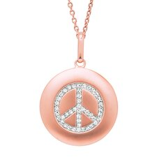 14k Gold 0.16ct TDW Diamond Round Peace Sign Disc Pendant