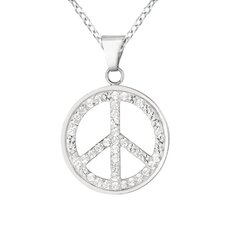 Sterling Silver Crystal Peace Sign Necklaces