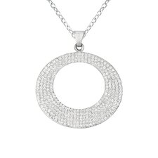 Sterling Silver Crystal Circle Necklaces