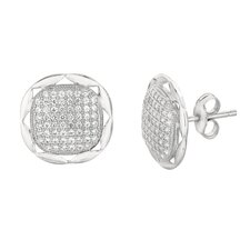 <strong>Silver on the Rocks</strong> Micro-Set Cubic Zirconium Round Shape Stud Earring