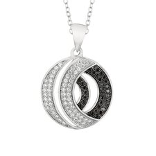 Sterling Silver Micro-Set Cubic Zirconium Double Round Necklaces