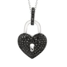 Sterling Silver Micro-Set Cubic Zirconium Heart with Hole and Dangle Key Necklaces