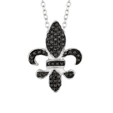 Sterling Silver Micro-Set Cubic Zirconium Fleur De Lis Necklaces