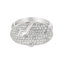 Sterling Silver Micro-Set Cubic Zirconium Oval with Snake Fashion Ring