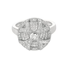Sterling Silver Micro-Set 158 Cubic Zirconium Round Fashion Ring