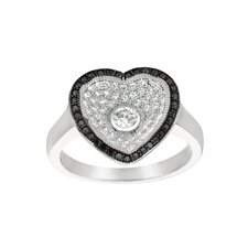 Sterling Silver Micro-Set Cubic Zirconium Heart Fashion Ring