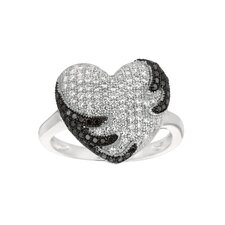 Sterling Silver Micro-Set 140 Cubic Zirconium Heart Fashion Ring