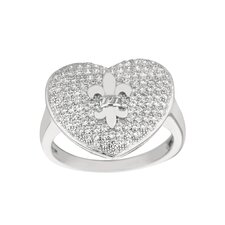 Sterling Silver Micro-Set Cubic Zirconium Heart with Fleur De Lis Fashion Ring