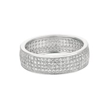 Sterling Silver Micro-Set 224 Cubic Zirconium Band Fashion Ring