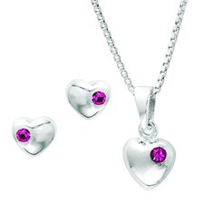 Sterling Silver Heart Cubic Zirconia Jewelry Set