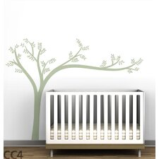 Monochromatic Leaning Tree Wall Decal