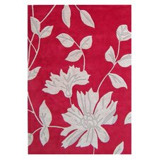 Ibrahim HongKong Floral Tomato Red / Light Grey Contemporary Rug