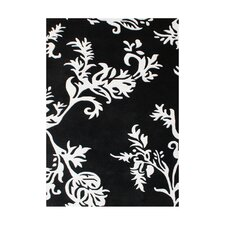 New Casanova Floral Ivory / Black Contemporary Rug