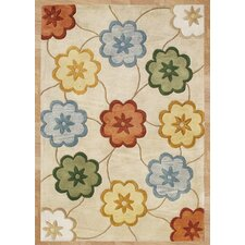 Sabrina Flower Geometric Beige Contemporary Rug