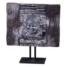 Lava Stone Jolly Buddha Head Plaque Sculpture