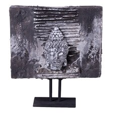 <strong>Phillips Collection</strong> Lava Stone Buddha Head Plaque Sculpture