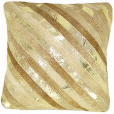 Diagonal Stripe Leather Pillow