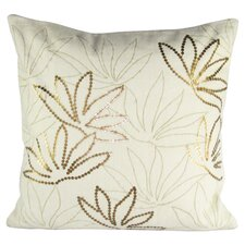 Large Linen Pillow with Floral Embroidery