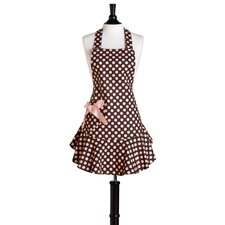 Brown and Pink Polka Dot Bib Josephine Apron