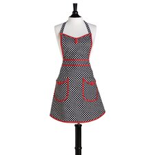 Black and White Deco Dot Bib Audrey Apron