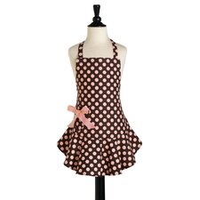 <strong>Jessie Steele</strong> Brown and Pink Polka Dot Childeren's Bib Josephine Apron