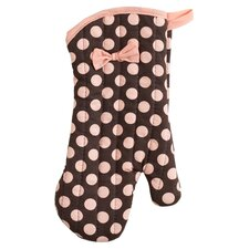 Brown and Pink Polka Dot Oven Mitt with Bow