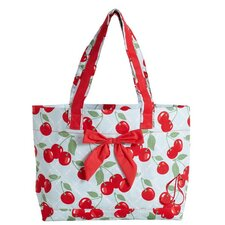 Kitchen Cherry Tote Bag with Bow