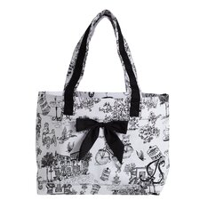 Cafe Toile Tote Bag with Bow