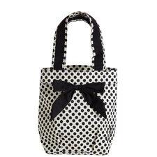 White with Black Deco Dots Lunch Tote Bag with Bow