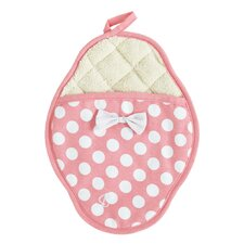 Geranium Pink and White Polka Dot Scalloped Pot Mitt