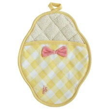 Giant Gingham Yellow Scalloped Pot Mitt